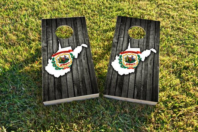 Wood Slate State Flag & Map (West Virginia) Themed Custom Cornhole Board Design