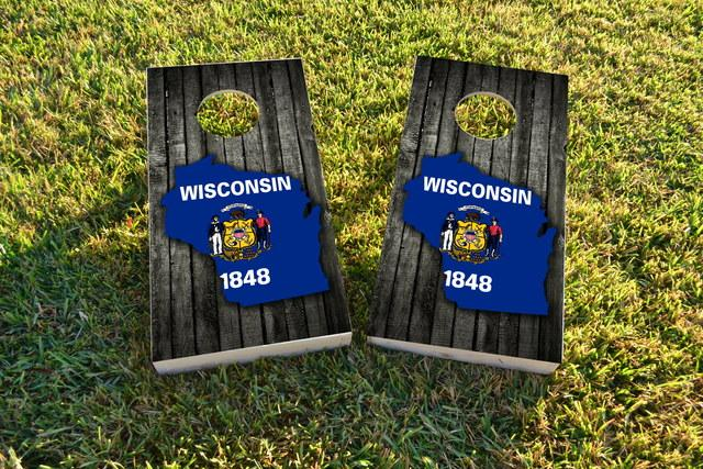 Wood Slate State Flag & Map (Wisconsin) Themed Custom Cornhole Board Design