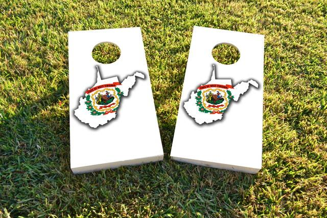 West Virginia State Flag Outline (White Background) Themed Custom Cornhole Board Design