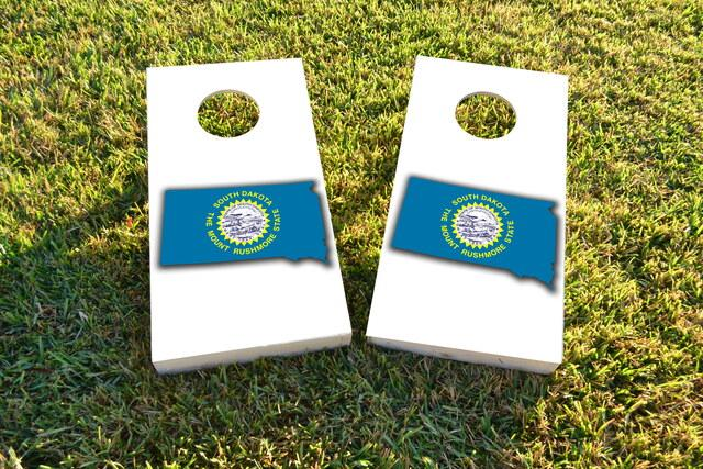South Dakota State Flag Outline (White Background) Themed Custom Cornhole Board Design