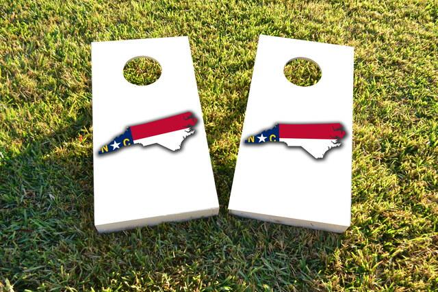 North Carolina State Flag Outline (White Background) Themed Custom Cornhole Board Design