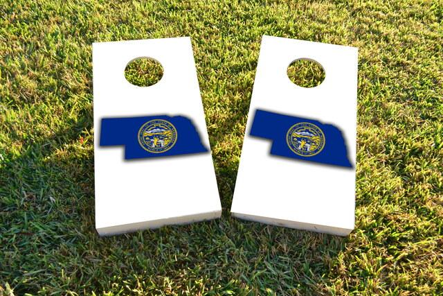 Nebraska State Flag Outline (White Background) Themed Custom Cornhole Board Design
