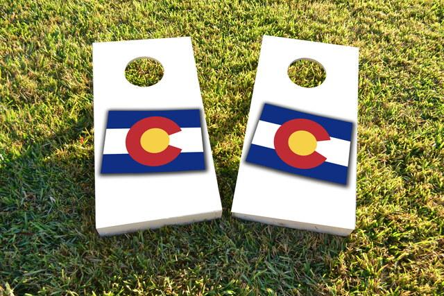 Colorado State Flag Outline (White Background) Themed Custom Cornhole Board Design