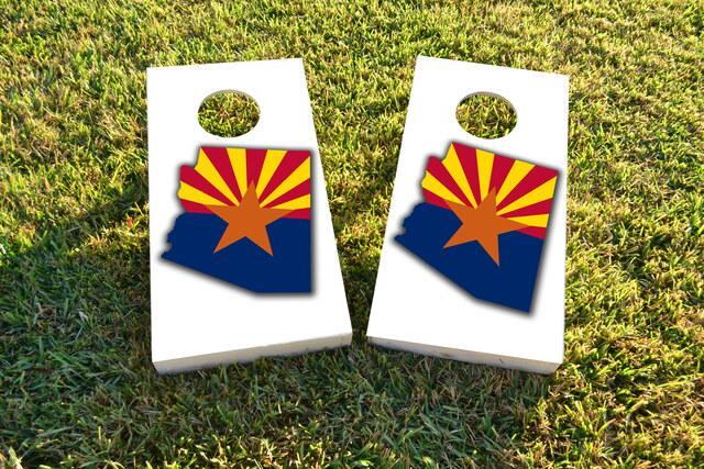 Arizona State Flag Outline (White Background) Themed Custom Cornhole Board Design
