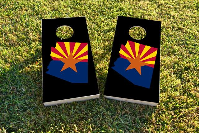 Arizona State Flag Outline (Black Background) Themed Custom Cornhole Board Design