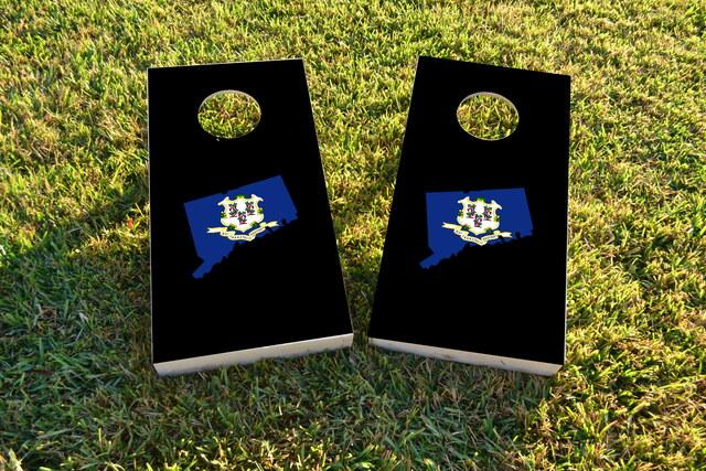 Connecticut State Flag Outline (Black Background) Themed Custom Cornhole Board Design