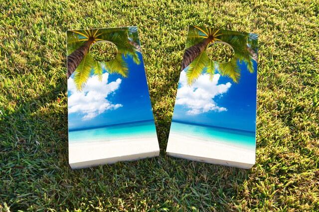 Palm Tree Overlooking the Beach Custom Cornhole Design