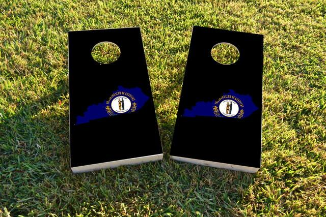 Kentucky State Flag Outline (Black Background) Themed Custom Cornhole Board Design