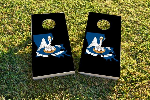 Louisiana State Flag Outline (Black Background) Themed Custom Cornhole Board Design