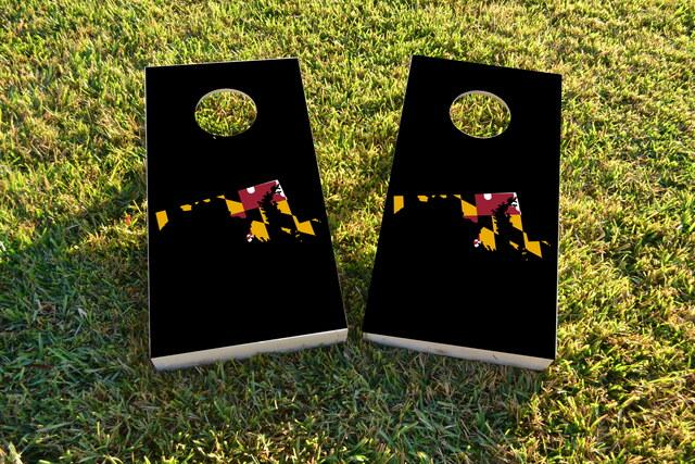 Maryland State Flag Outline (Black Background) Themed Custom Cornhole Board Design