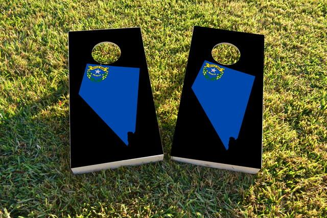 Nevada State Flag Outline (Black Background) Themed Custom Cornhole Board Design