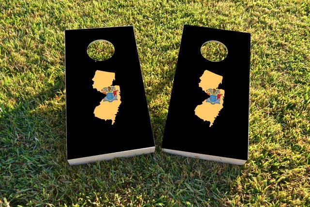 New Jersey State Flag Outline (Black Background) Themed Custom Cornhole Board Design