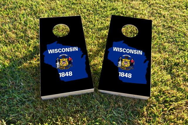 Wisconsin State Flag Outline (Black Background) Themed Custom Cornhole Board Design