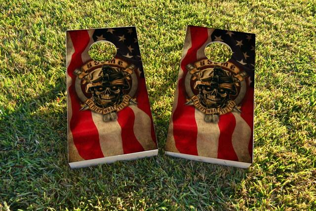 USMC We Fight What You Fear Themed Custom Cornhole Board Design