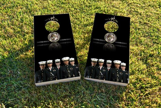 USMC Uniformed Officers Themed Custom Cornhole Board Design