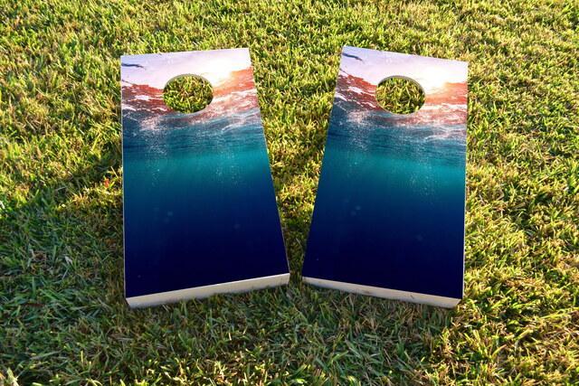 Ocean Underwater Sunset Themed Custom Cornhole Board Design