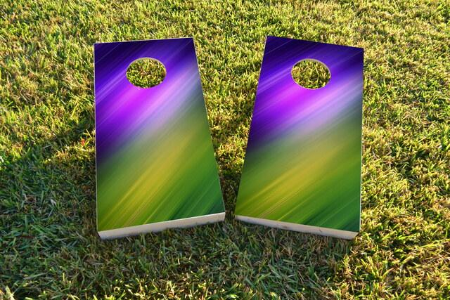 Blue Purple Yellow Green Shine Themed Custom Cornhole Board Design