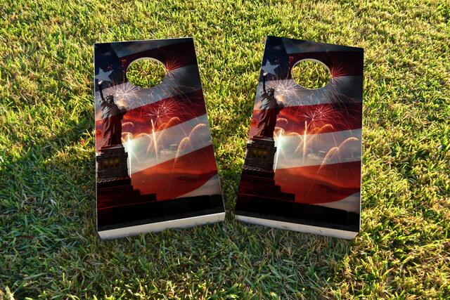 Patriotic Statue of Liberty with Fireworks Themed Custom Cornhole Board Design