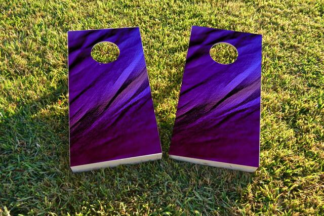 Shades of Purple Fabric Background Themed Custom Cornhole Board Design