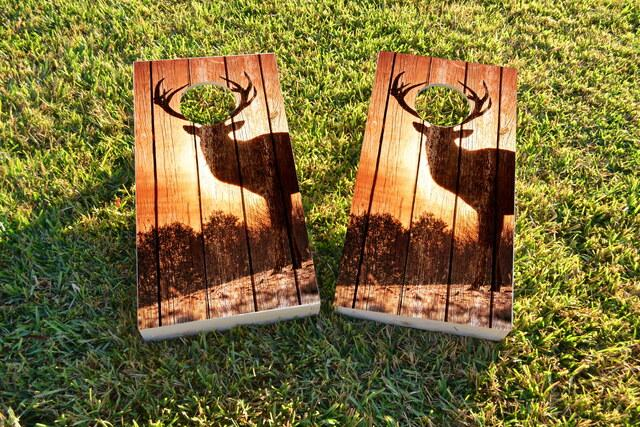 Sunrise Elk on Wood Slat Background Themed Custom Cornhole Board Design