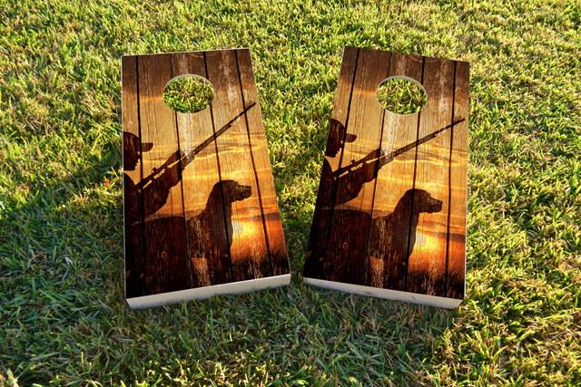 Sunrise Hunters With Wood Slat Background Themed Custom Cornhole Board Design
