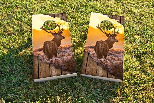 Torn Sunrise Buck With Wood Slat Background Themed Custom Cornhole Board Design