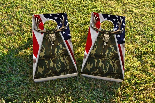 Camouflage Deer Mount With Flag Background Themed Custom Cornhole Board Design