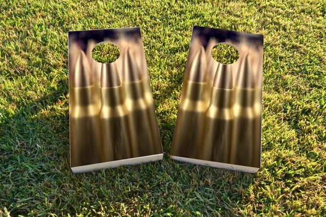 Brass Ammunition Themed Custom Cornhole Board Design
