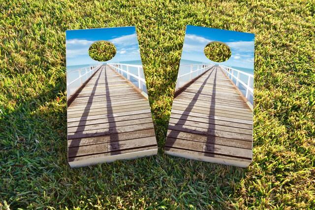 Boardwalk Ocean Themed Custom Cornhole Board Design