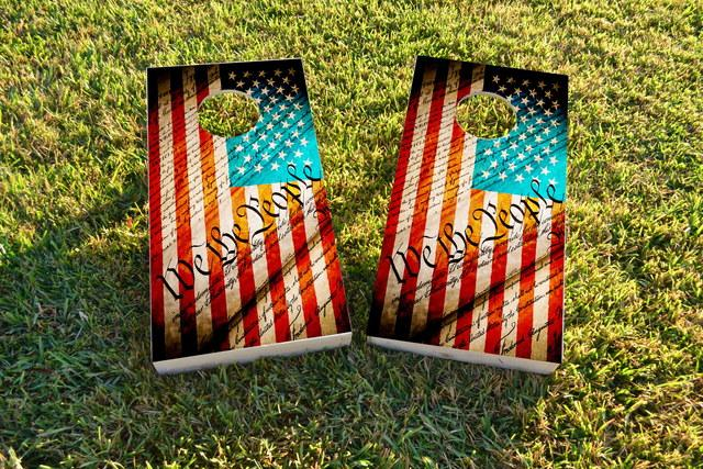 Worn American Flag (We The People) Themed Custom Cornhole Board Design