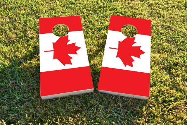 Canadian (Canada)National Flag Themed Custom Cornhole Board Design
