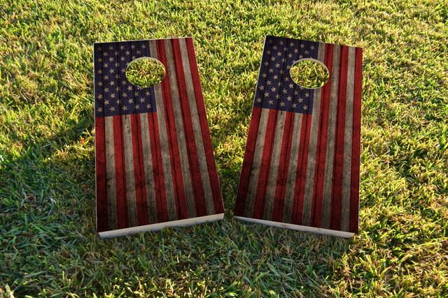 Worn Woodslat American Flag USA Themed Custom Cornhole Board Design