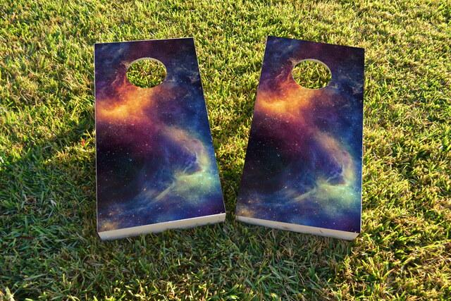 Galaxy  Themed Custom Cornhole Board Design