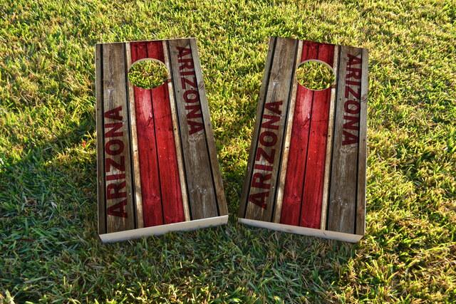 Woodslat Worn Arizona Football Themed Custom Cornhole Board Design