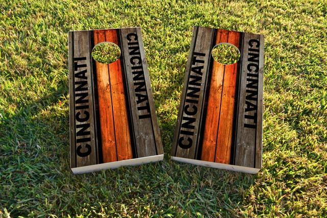 Woodslat Worn Cincinnati Football Themed Custom Cornhole Board Design