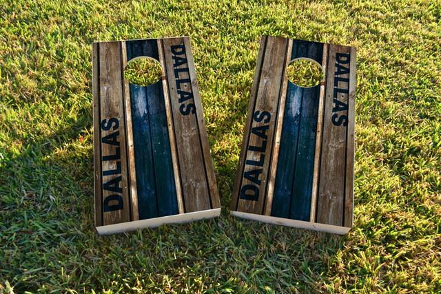 Woodslat Worn Dallas Football Themed Custom Cornhole Board Design