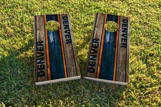 Woodslat Worn Denver Football Themed Custom Cornhole Board Design