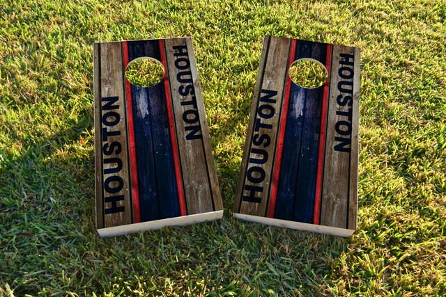 Woodslat Worn Houston Football Themed Custom Cornhole Board Design