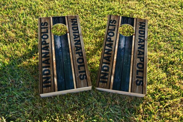 Woodslat Worn Indianapolis Football Themed Custom Cornhole Board Design