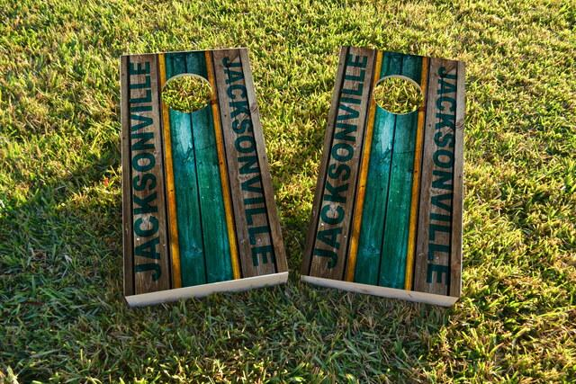 Woodslat Worn Jacksonville Football Themed Custom Cornhole Board Design