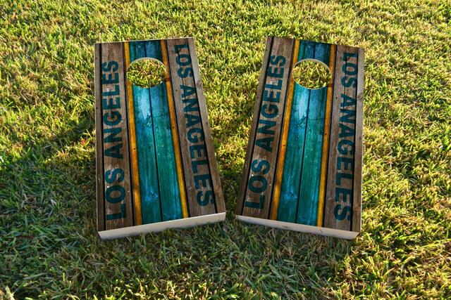 Woodslat Worn Los Angeles 1 Football Themed Custom Cornhole Board Design