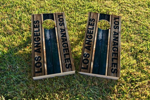 Woodslat Worn Los Angeles 2 Football Themed Custom Cornhole Board Design