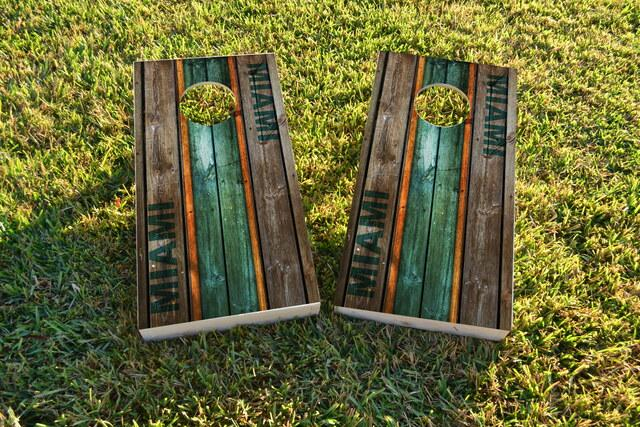 Woodslat Worn Miami Football Themed Custom Cornhole Board Design