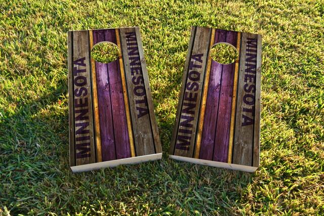 Woodslat Worn Minnesota Football Themed Custom Cornhole Board Design