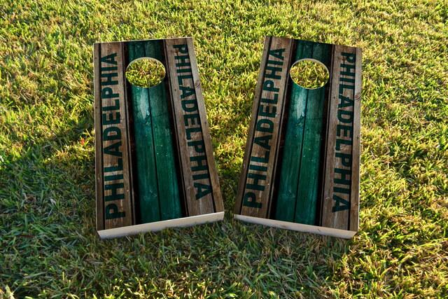 Woodslat Worn Philadelphia Football Themed Custom Cornhole Board Design