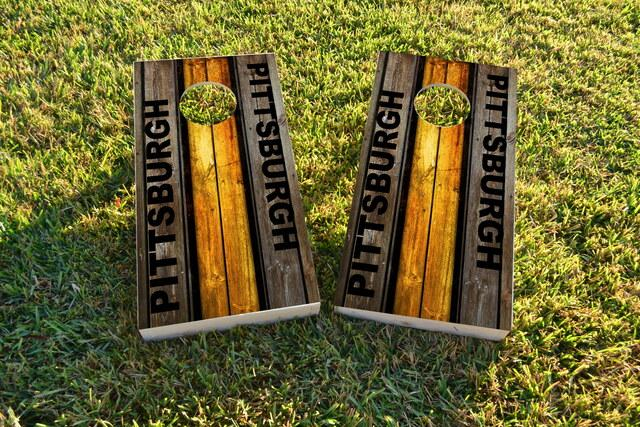 Woodslat Worn Pittsburgh Football Themed Custom Cornhole Board Design