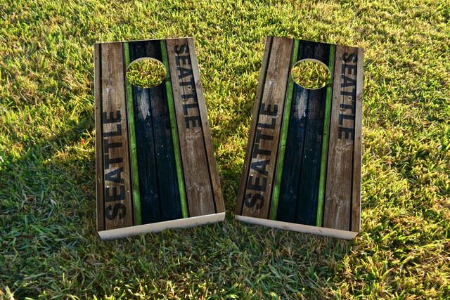 Woodslat Worn Seattle Football Themed Custom Cornhole Board Design