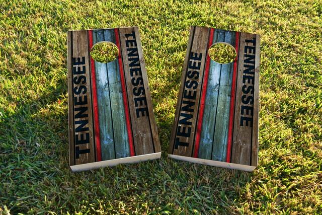 Woodslat Worn Tennessee Football Themed Custom Cornhole Board Design