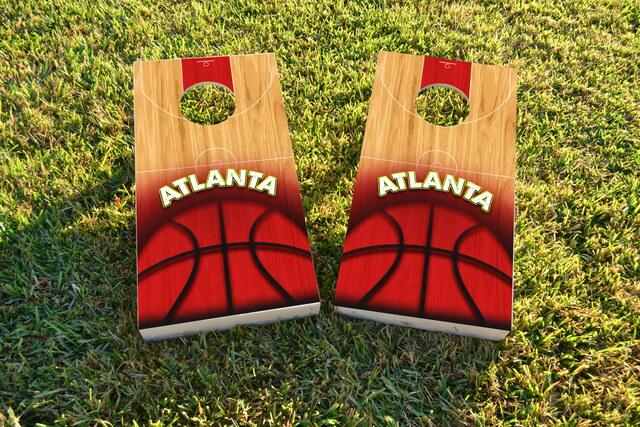 Basketball Atlanta Themed Custom Cornhole Board Design