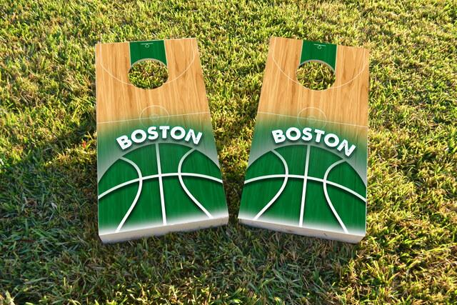 Basketball Boston Themed Custom Cornhole Board Design
